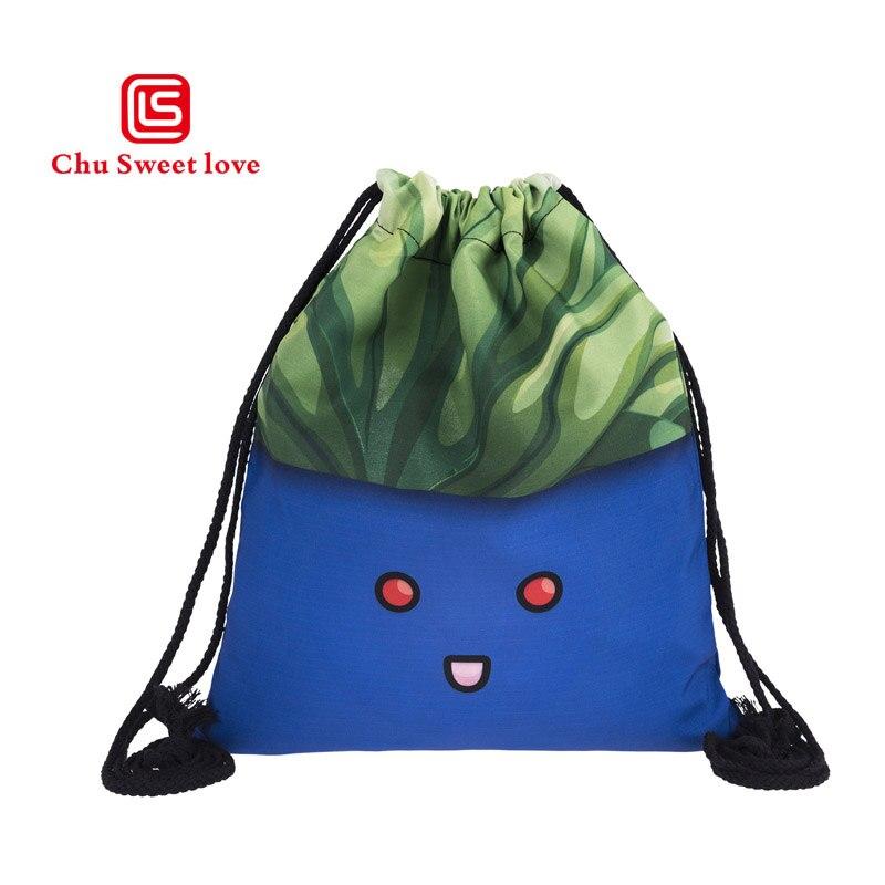 2018 New Fashion Womens Bags Catoon Funny  Pattern Drawstring Backpack 3D Printing Travel Softback Mochila Drawstring Bags