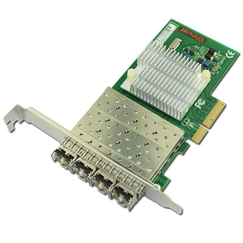 4 Port Gigabit Fiber Card Multi Mode 850nm LC Optical Transceiver Module PCIe X4 sfp optical module new new sfp ge l single mode gigabit fiber module ddm