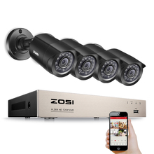 ZOSI 8-Channel HD-TVI 1080N/720P Video Security System DVR recorder with 4x HD 1280TVL Indoor/Outdoor Weatherproof CCTV Cameras