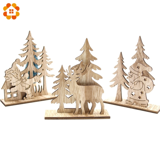 Us 223 23 Off1set Creative Diy Wood Crafts Christmas Santa Claussnowman Wooden Ornaments For Christmas Party Supplies Home Table Decorations In