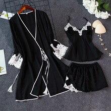 Женский сексуальный Шелковый Атласный халат, пижамный комплект, кружевной Халат+ топ+ шорты, комплект из 3 предметов, летняя весенняя одежда для сна, комплект ночного белья для женщин