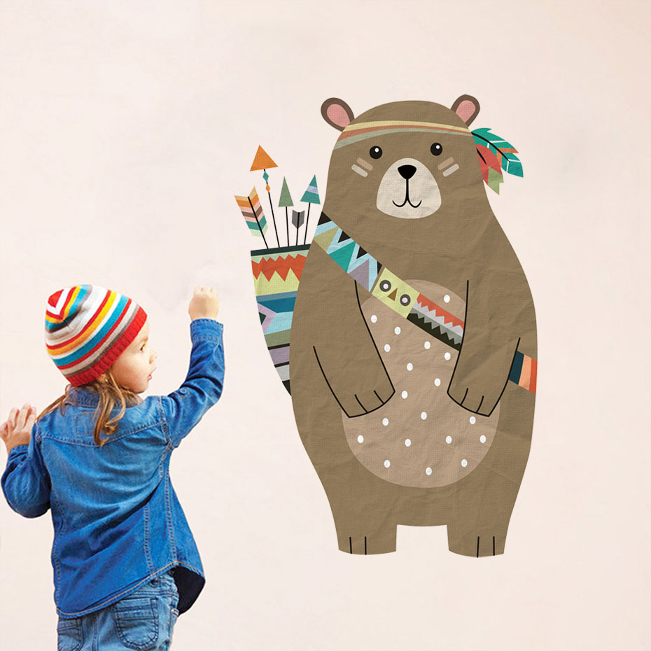 Colourful Tribal Bear Wall sticker Woodland Animal Bear Arrow Decals For Children Room Tribal Nursery Room Home Decor Murals Art-in Wall Stickers from Home & Garden