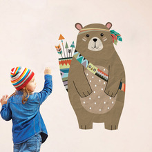 Colourful Tribal Bear Wall sticker Woodland Animal Arrow Decals For Children Room Nursery Home Decor Murals Art