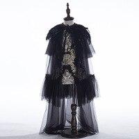 D 083, детское свадебное платье, черное платье с перьями для девочек, костюмы для выступлений, платье принцессы