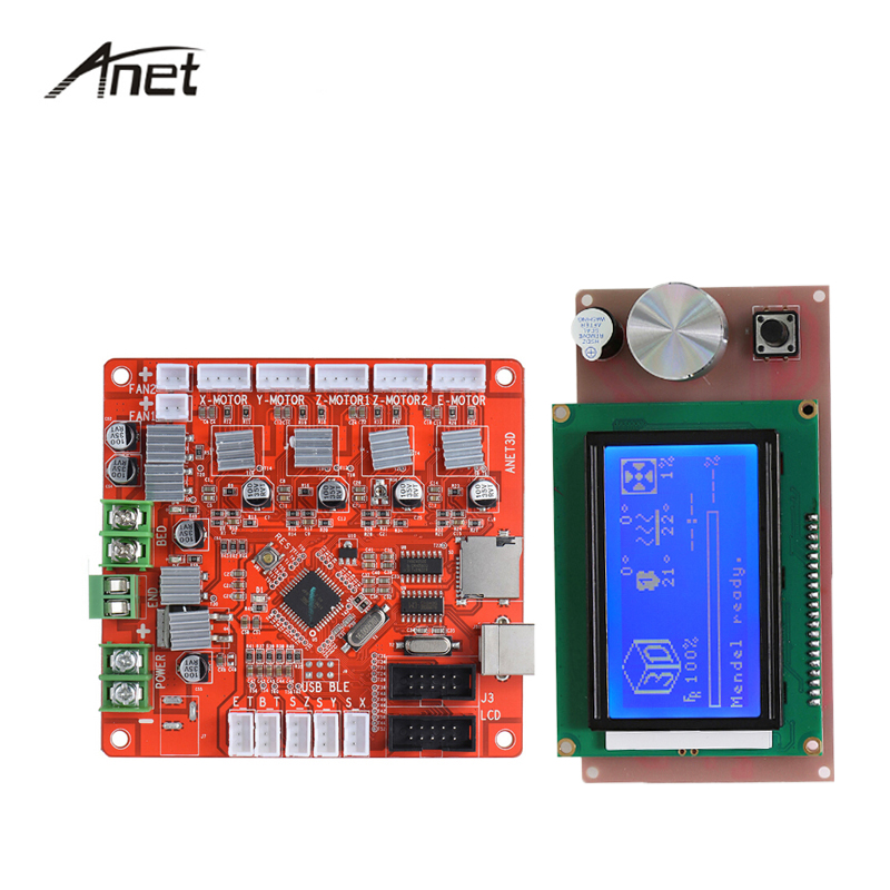 Anet Control Board Mother Board Mainboard 12864 LCD Smart Display Screen Controller Module with Cable For Anet A6 Printer 1 pcs ramps1 4 lcd 12864 control panel 3d printer smart controller lcd display free shipping drop shipping l101