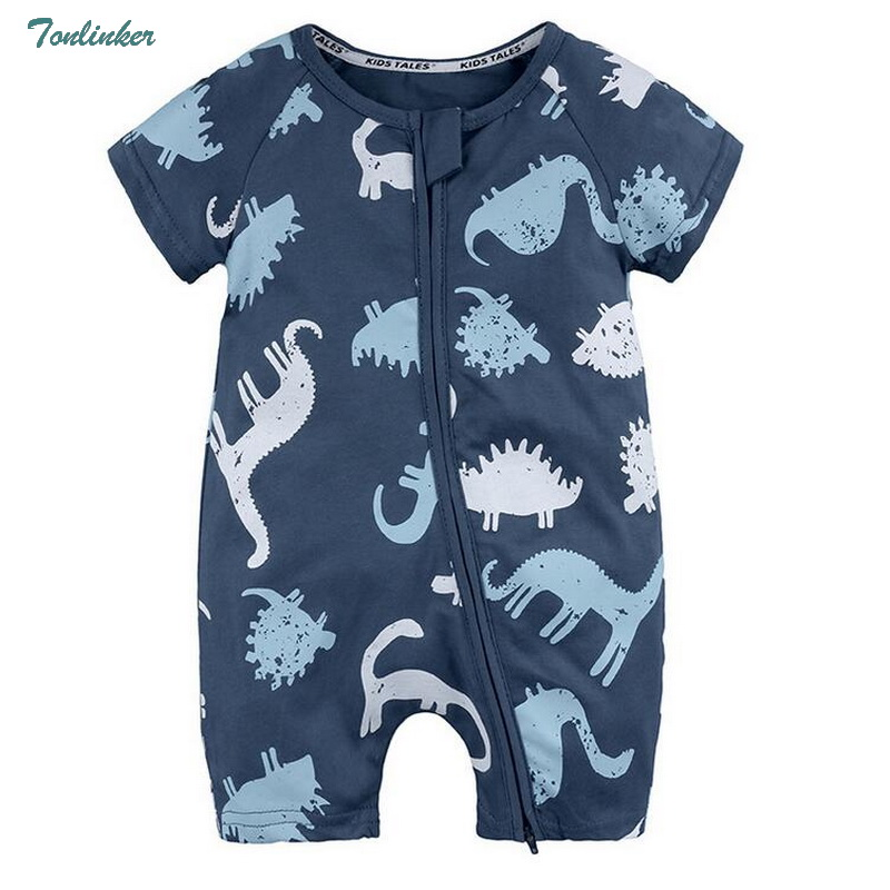 Tonlinker 2018 Newborn Baby Boy Infant Romper Clothes Short Sleeve Cartoon dinosaur boys Jumpsuit Pajamas Clothing