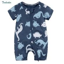 Tonlinker 2018 Newborn Baby Boy Infant Romper Clothes Short Sleeve Cartoon dinosaur boys Jumpsuit Pajamas Clothing