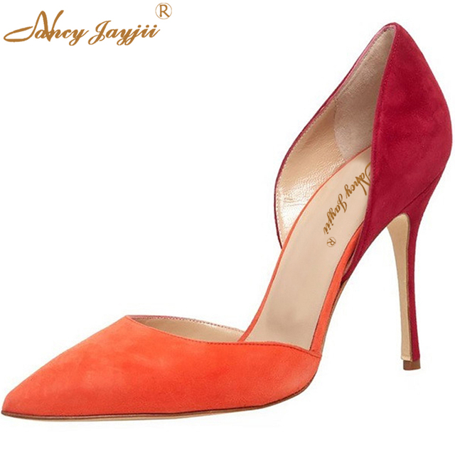 d47d5c8f18d Nancyjayjii Vita Suede Pumps Summer Fashion Orange Navy Blue Pointed Toe  10cm High Heels Women Shoes Dress Party Pumps Big To 16