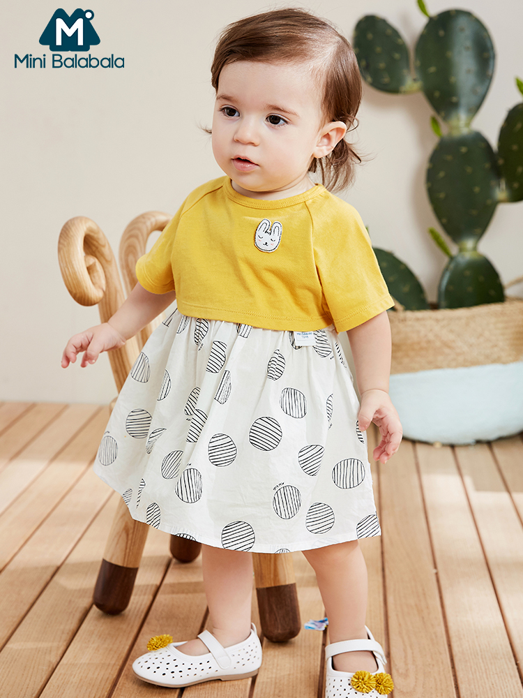 Mini BalabalaBaby Girls Dress Suit 2019 Summer New Baby Strap Dress Cotton Two Piece Clothes Soft And Comfortable