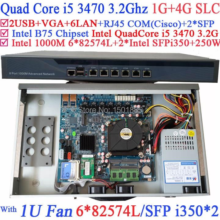 1U Firewall network router with 6 1000M 82574L Gigabit Nics 2 Intel Quad Core i5 3470