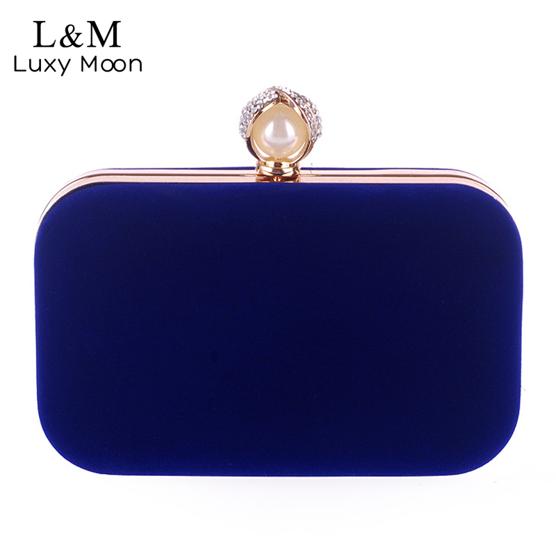 Ladies Velvet Clutch Pearl Crystal Evening Bags Women Velour Party Wedding Hand Bag Bridal Luxury Mini Day Purse bolsos XA836H