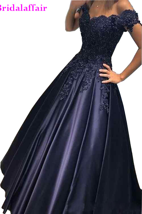 A-line Prom   Dresses   V-Neck Off The Shoulder Sleeveless Zipper Sweep Train Satin with   Evening     Dresses   Party Gowns