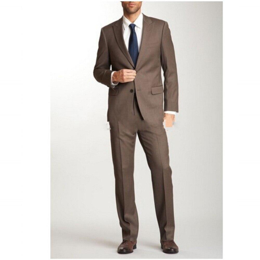Men Suits Peaked Lapel Groom Suit Wedding For Men Wedding Tuxedos Suits Dark Brown Top Selling Suits (jacket+pants)