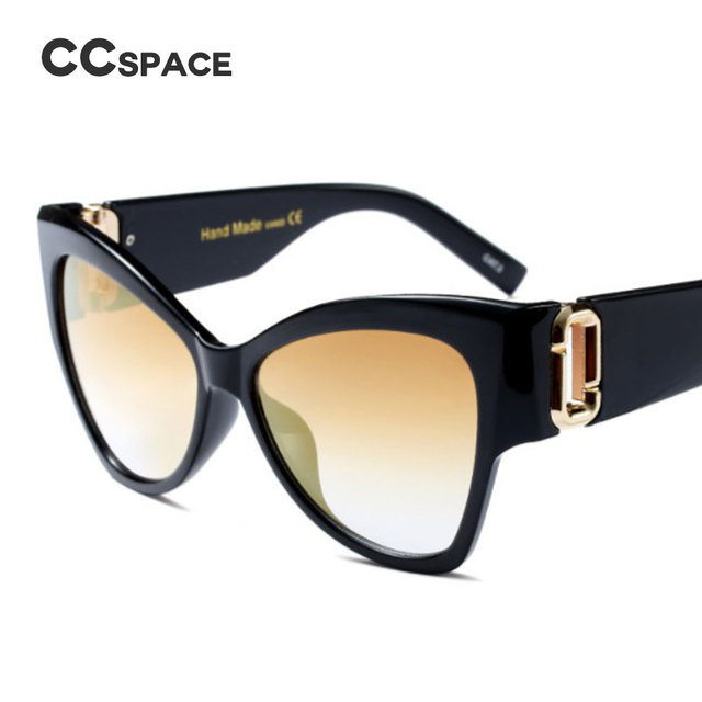 3895045088 Ccspace 7 colores G ojo de gato Gafas de sol gradiente hombres mujeres  grandes Marcos marca