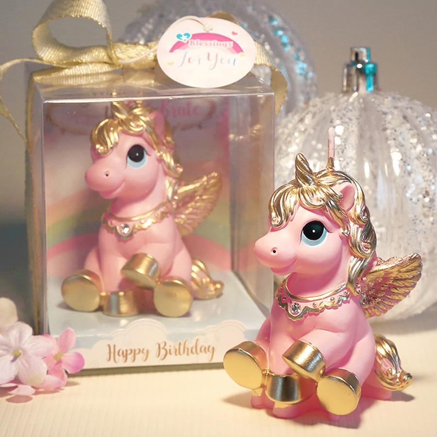 Amazing Pink White Mini Unicorn Model Art Cake Candle For