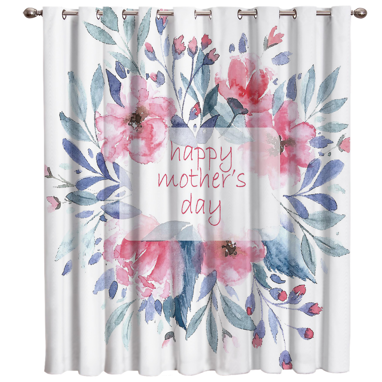 Happy Mother's Day Flower Living Room Blackout Bathroom Outdoor Kitchen Fabric Decor Window Treatment Sets Curtains And Drapes