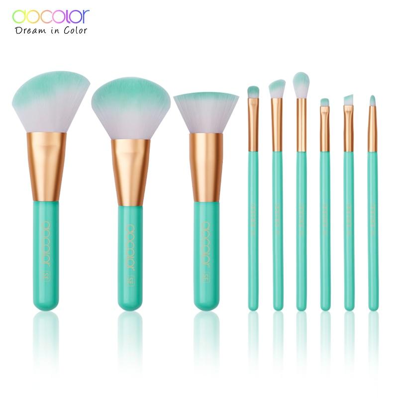 Docolor 9PCS Beauty Makeup Brushes Set Cosmetic Foundation Powder Blush Eye Shadow Lip Blend Make Up Brush Tool Kit Maquiagem все цены