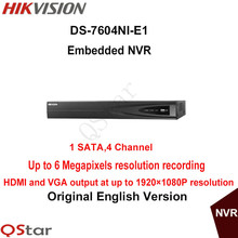 Hikvision Original English Version DS-7604NI-E1 Embedded NVR UP to 6MP Third-party Network Cameras Supported