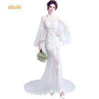 Romantic mermaid sheer wedding dresses illusion beach sexy summer princess Designer bride wedding gown vestido de noiva