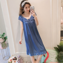 Женские сорочки летний ночная рубашка из шелка, холодные цвета многоцветный женский сексуальный сна юбка дамы с короткими рукавами дома sleepdress 9 цветов