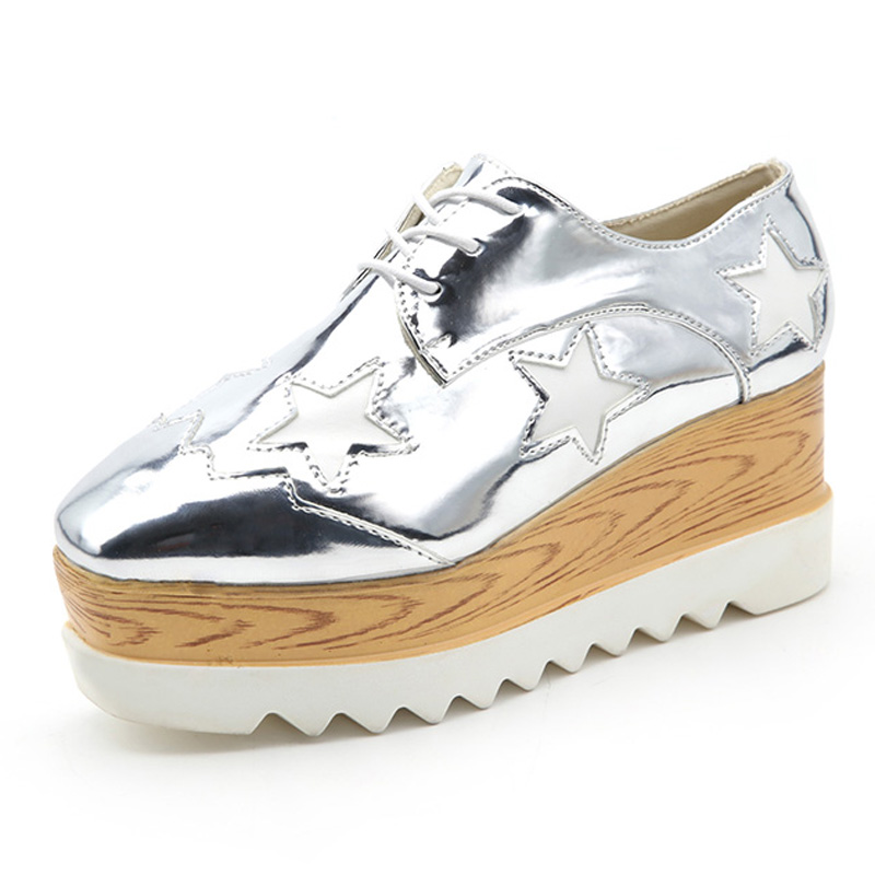 WDHKUN Silver Oxford Women Flat Platform Shoes Woman Fashion Solid Rubber Woman Shoes Lace Up 3 Colors Size 35-39