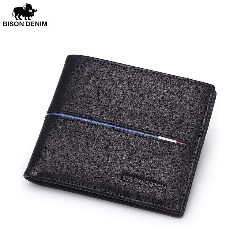 BISON DENIM fashion luxury men wallets genuine leather short design male brand slim bifold wallet pocket purse все цены
