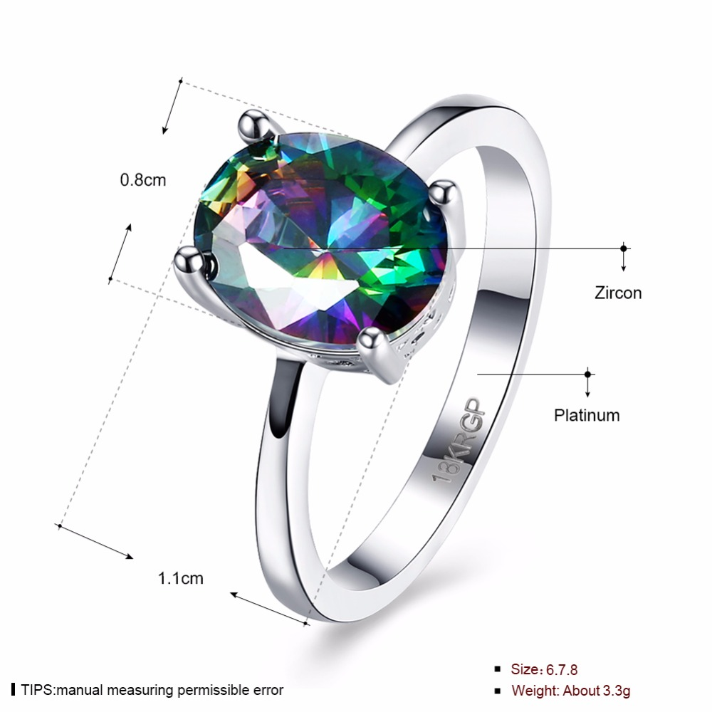 GNIMEGIL Classic Oval Zircon Mystic Rainbow Stone Engagement Wedding Rings for Women White Gold Color Luxury Ring