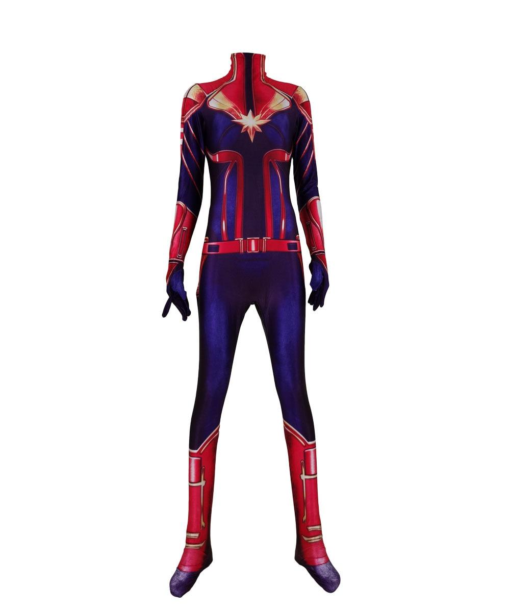 Movie Ms Captain Marvel Female Superhero Jumpsuit Custom Made Cosplay Halloween Costumes Spandex Bodysuit