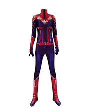 Movie Ms Captain Marvel Female Superhero Jumpsuit Custom Made Cosplay Halloween Costumes Spandex Bodysuit