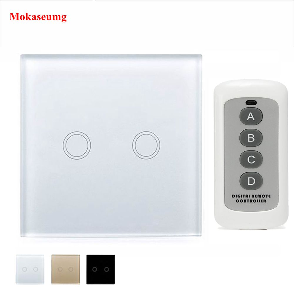EU/UK Wall Touch Smart Switch 2 Gang 1 Way White Crystal Glass Panel Switch RF 433 Smart Home Touch Switch y602 White Black Gold smart home us black 1 gang touch switch screen wireless remote control wall light touch switch control with crystal glass panel
