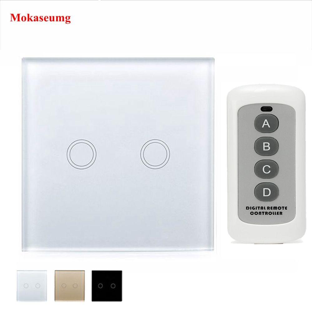 L'UE/ROYAUME-UNI Mur Tactile Smart Switch 2 Gang 1 Voies Blanc Cristal En Verre panneau Commutateur RF 433 Smart Home Tactile Interrupteur y602 Blanc Noir Or
