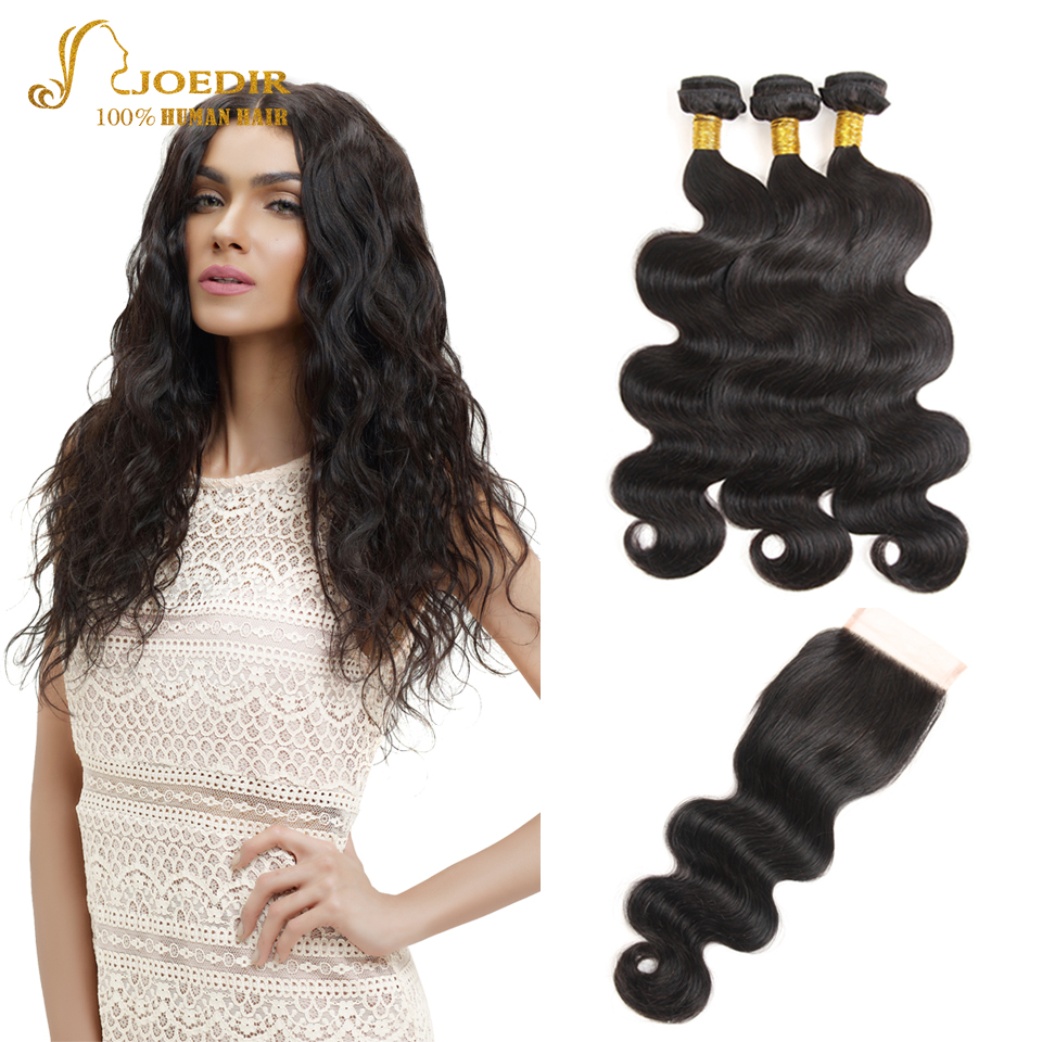 JOEDIR Cheap Human Hair Weave Bundles Pre-Colored Brazilian Body Wave With Closure 4*4 Lace Closure With Bundles Hair Extensions