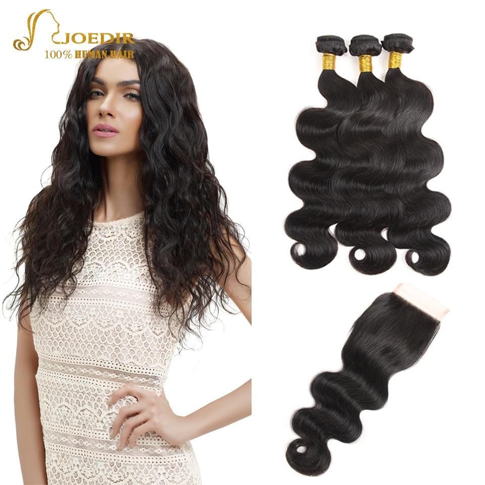 JOEDIR Cheap Human Hair Weave Bundles Pre-Colored Brazilian Body Wave With Closure 4*4 Lace Closure With Bundles Hair Extensions