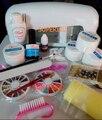 Promoción Caliente! 2018 Profesional Full Set UV Gel Kit de Arranque UV Nail Art Set + 9 W Que Cura La Luz UV Secador de Uñas envío de la gota