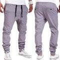 2016 moda calças marca homens magro Aumentar Calças basculador Casuais Khiki Preto Cinza