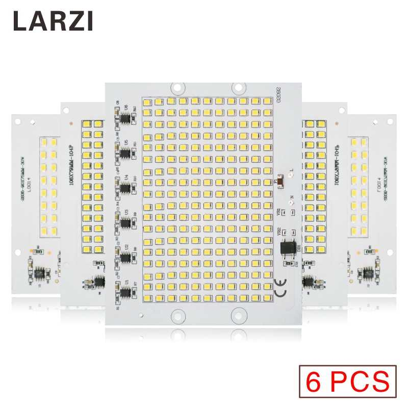 LARZI 6Pcs LED Chip Lamp 220V Bulb Smart IC Led Light SMD 2835 Input 10W 20W 30W 50W 90W For Outdoor FloodLight With Varistors