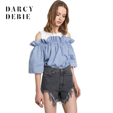 95dabfcec68409 Darcydebie Women s Blue Plaids Patchwork Ruffle Frill Blouse College Style Cold  Shoulder Puff Sleeve Shirt Sweet O-Neck Tops