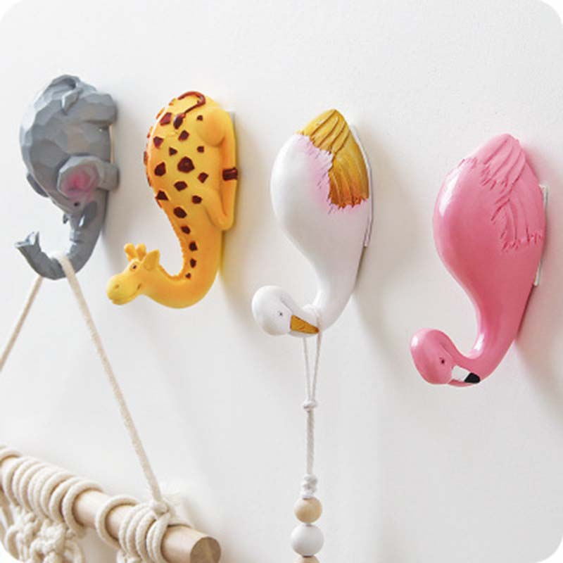 Cartoon Animal Resin Hook Flamingo Shape Hook Wall Hanging Holder Self Adhesive Clothes Hook Rack Kitchen Storage Accessories