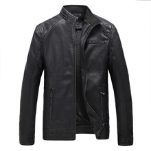 Autumn and Winter Leather Clothing New Plus Velvet Mens PU