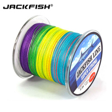 JACKFISH 100M 4 strand Mix Color Super Strong PE Braided Fishing Line 10-80LB Multifilament  pe Fishing Line with Clear box