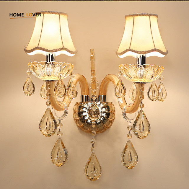 European Design LED Luxury Hanging K9 Crystal Wall Lamps Bedroom ...