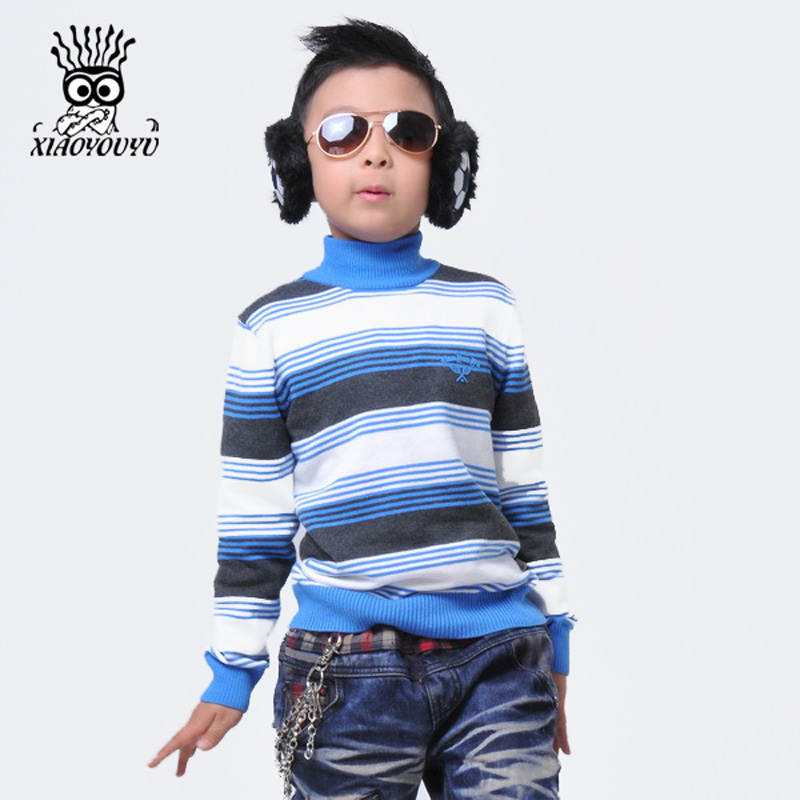 XIAOYOUYU Size 110-150 Kids Sweaters Long Sleeve Casual Style Stripe Design Boys Warm Pullovers Stand Collar Children Clothing