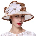June's Young Women Hats Wide Brim Floral Pattern Beige Brown Color 100% Sinamay Material Derby Party Hot Sale Fashion Fedoras