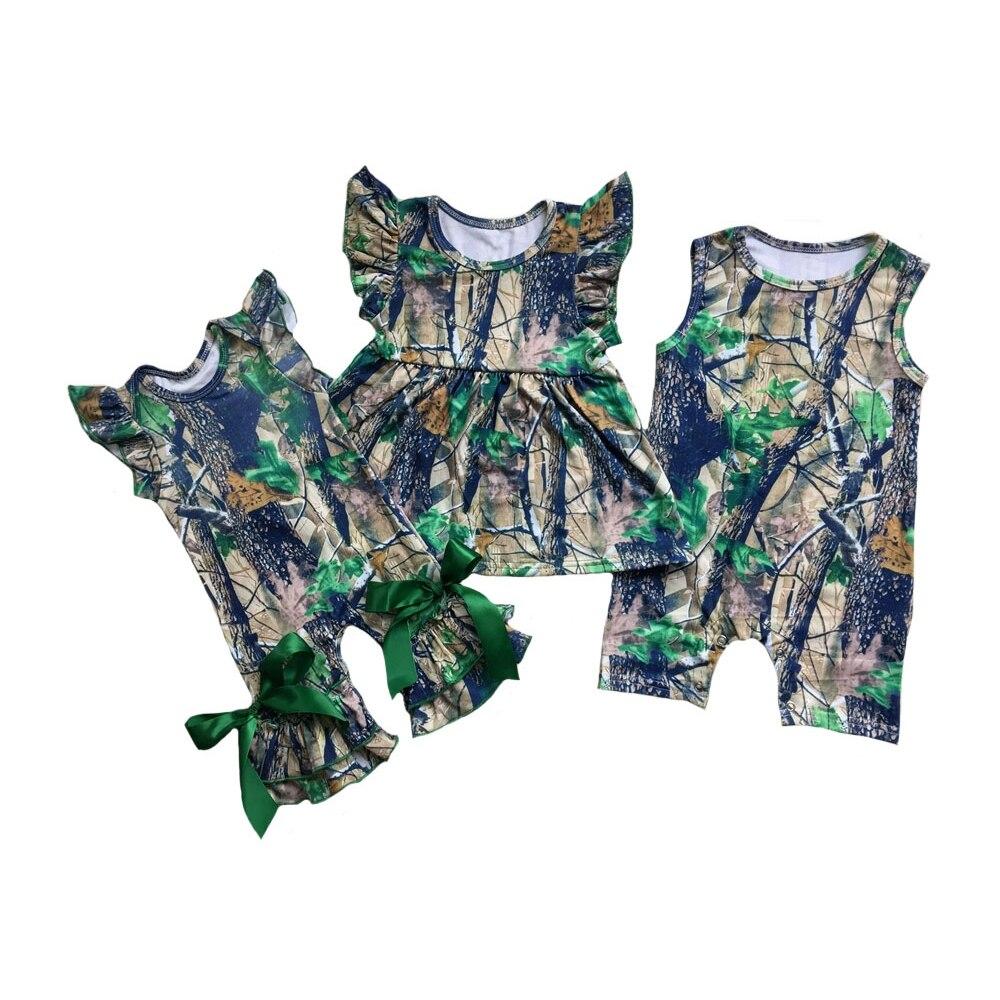 Girls Boys Camo Flutter Romper Shirts Baby Sleeper Clothes