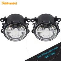 Buildreamen2 2 X Car 4000LM LED Lamp Fog Light DRL Daytime Running Light White 12V High Bright For Nissan Interstar 2002 2010