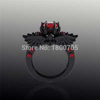 Wholesale Gothic Skull Wing Engagement Ring,Red Stone Finger Jewelry Zircon Black Gold Filled Ring, Free Shipping