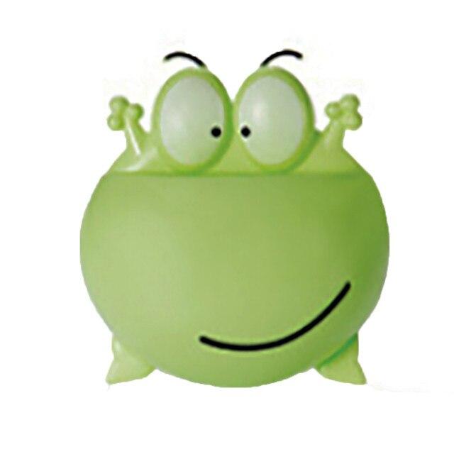 1 sztuk szczoteczka do zębów uchwyt do montażu na ścianie Cute Cartoon żaba Sucker ssania łazienka organizator narzędzia rodzinne akcesoria Drop Shipping