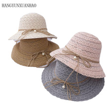 Summer New Style Womens Straw Hat Foldable Lace Hollowed Sun Hats For Women Sunscreen Ventilate Youth Female Beach