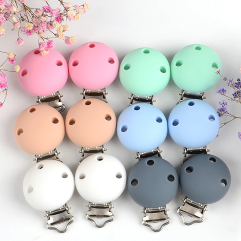 10 Pcs DIY Round Color Silicone Baby Pacifier Chain Clips Soother Nursing Baby Accessories Holder Clips