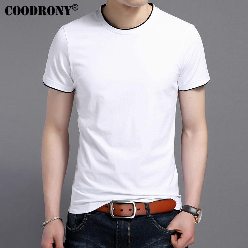 COODRONY 2017 Summer New Short Sleeve T-Shirt Men 100% Pure Cotton T Shirt Men Casual O-Neck Slim Fit Tee Shirt Brand Tops S7609
